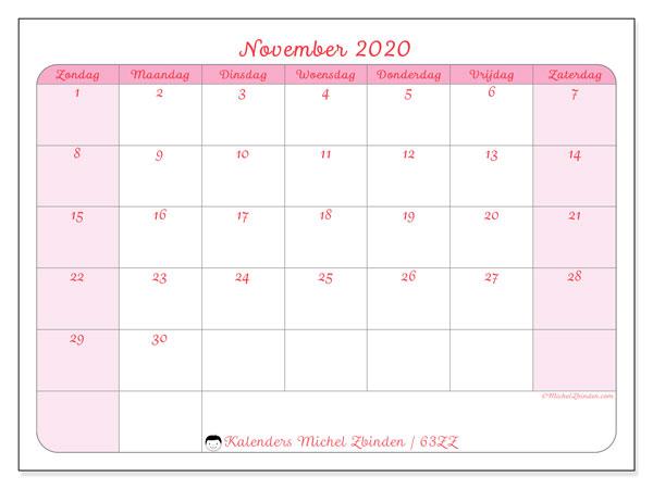 Kalender november 2020, 63ZZ. Kalender om gratis af te drukken.