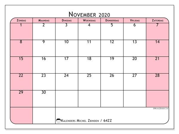 Kalender november 2020, 64ZZ. Gratis printbare kalender.