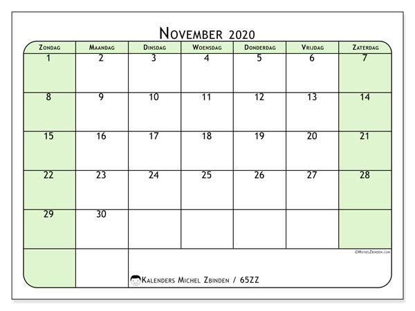 Kalender november 2020, 65ZZ. Kalender voor de maand die gratis moet worden afgedrukt.