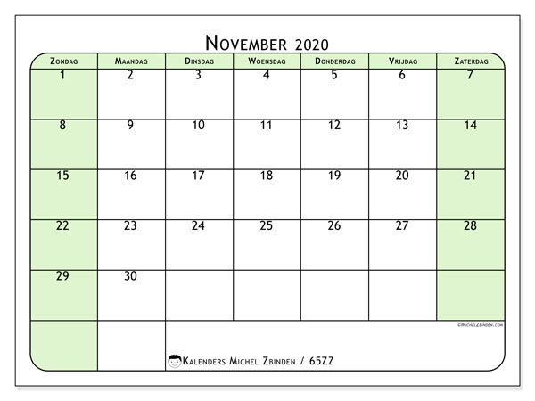 Kalender november 2020, 65ZZ. Gratis printbare kalender.