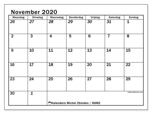 Kalender november 2020, 66MZ. Maandkalender om gratis te printen.