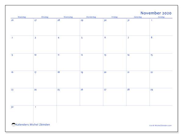 Kalender november 2020, 73MZ. Agenda om gratis te printen.