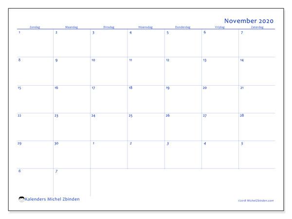 Kalender november 2020, 73ZZ. Schema om gratis te printen.