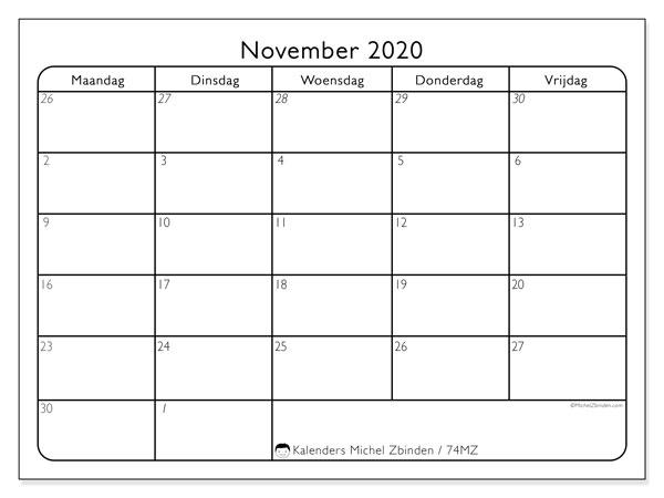 Kalender november 2020, 74MZ. Kalender voor de maand die gratis moet worden afgedrukt.