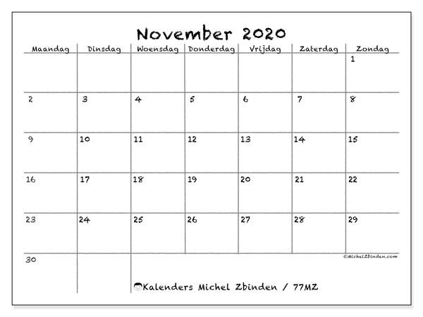 Kalender november 2020, 77MZ. Kalender voor de maand die gratis moet worden afgedrukt.