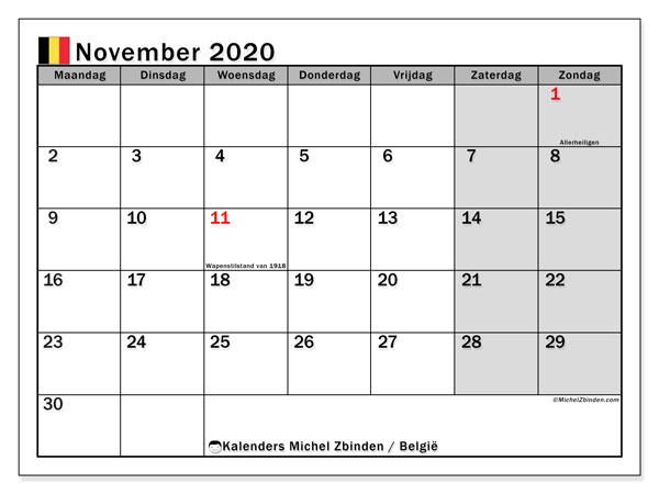 Kalender november 2020 met de feestdagen van België. Kalender voor de maand die gratis moet worden afgedrukt.