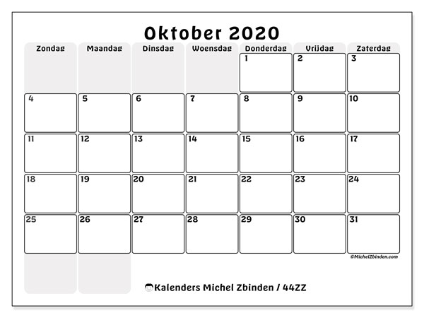 Kalender oktober 2020, 44ZZ. Kalender om gratis af te drukken.