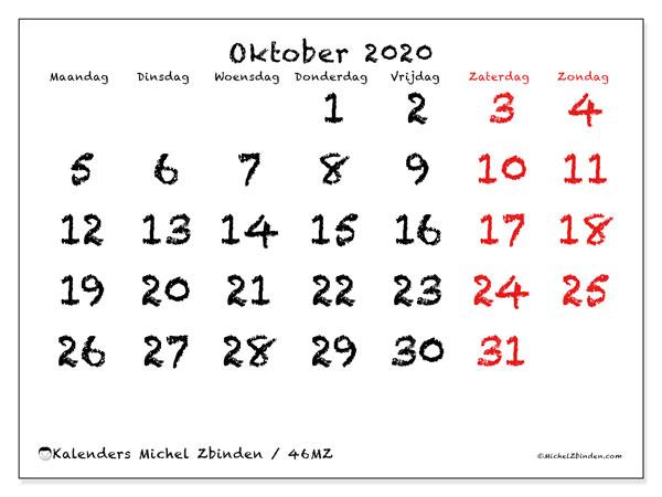 Kalender oktober 2020, 46MZ. Gratis kalender om af te drukken.