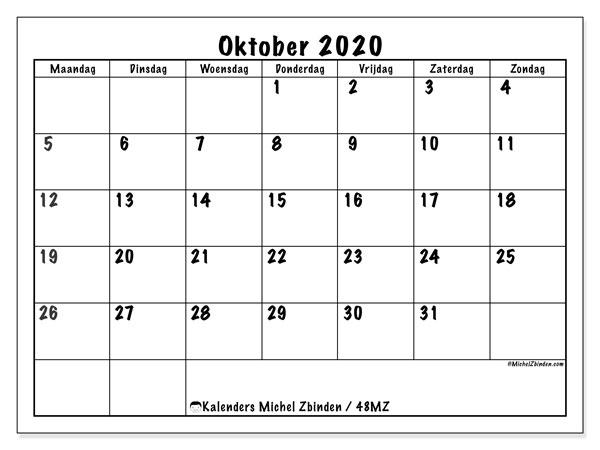 Kalender oktober 2020, 48MZ. Kalender om gratis te printen.