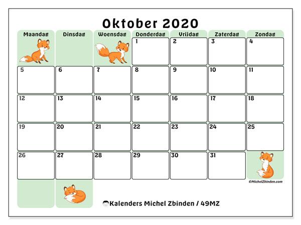 Kalender oktober 2020, 49MZ. Kalender om gratis te printen.