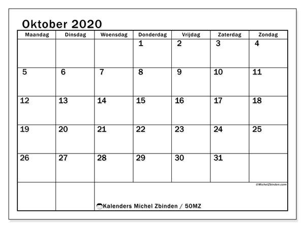 Kalender oktober 2020, 50MZ. Agenda om gratis te printen.