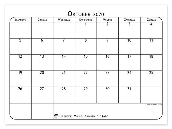 Kalender oktober 2020, 51MZ. Gratis kalender om af te drukken.