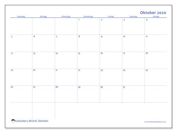 Kalender oktober 2020, 55MZ. Kalender voor de maand die gratis moet worden afgedrukt.