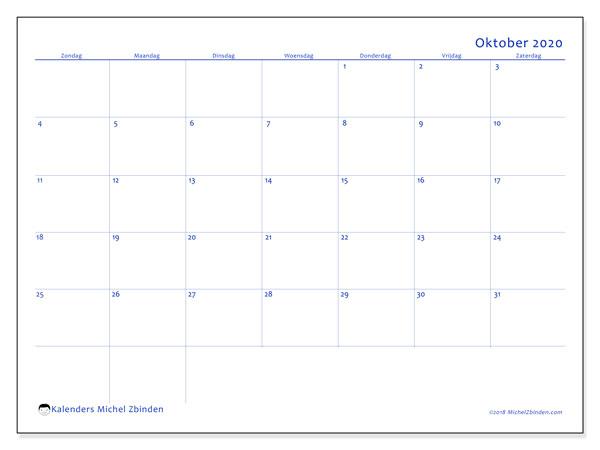Kalender oktober 2020, 55ZZ. Gratis afdrukbare kalender.