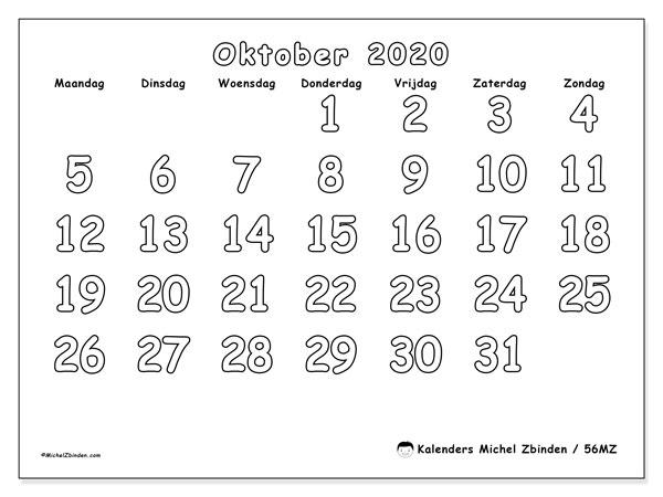 Kalender oktober 2020, 56MZ. Agenda om gratis te printen.
