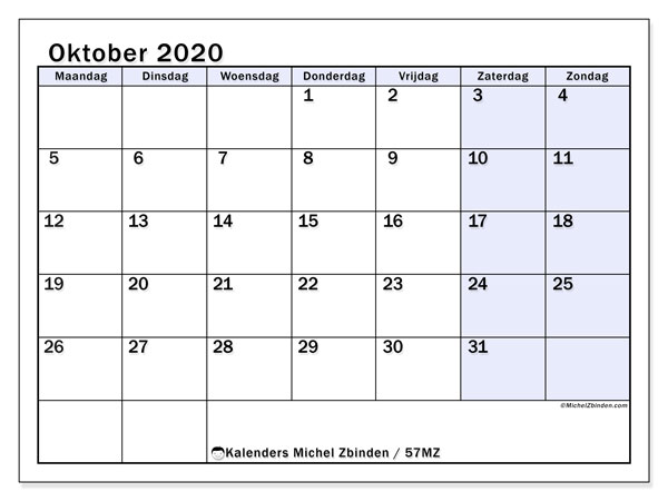 Kalender oktober 2020, 57MZ. Kalender om gratis af te drukken.