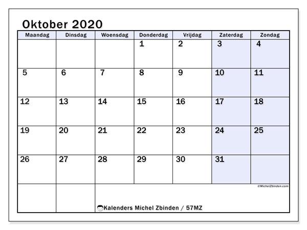 Kalender oktober 2020, 57MZ. Gratis afdrukbare kalender.