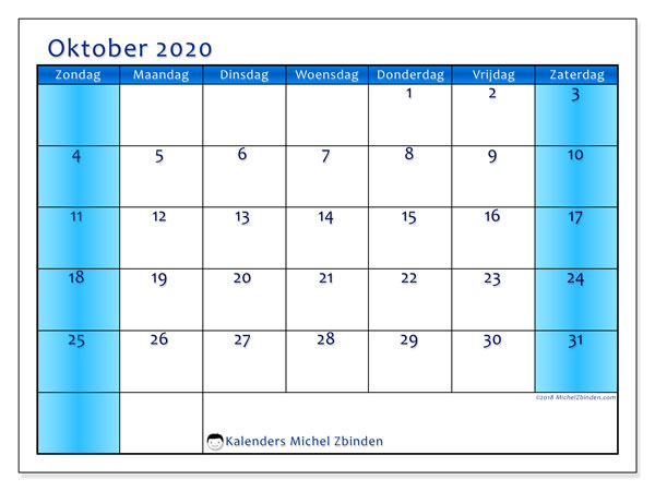Kalender oktober 2020, 58ZZ. Gratis printbare kalender.