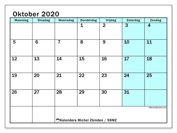 Kalender oktober 2020, 59MZ. Gratis afdrukbare kalender.