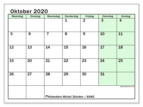Kalender oktober 2020, 60MZ. Kalender voor de maand die gratis moet worden afgedrukt.