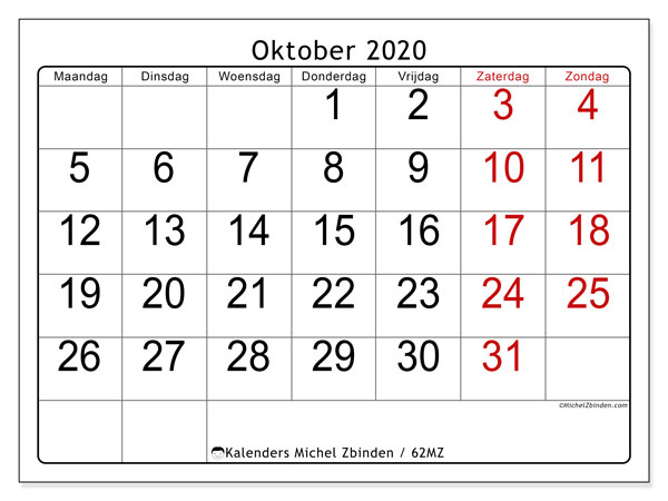 Kalender oktober 2020, 62MZ. Maandkalender om gratis te printen.
