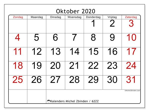 Kalender oktober 2020, 62ZZ. Kalender om gratis af te drukken.