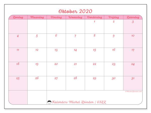 Kalender oktober 2020, 63ZZ. Schema om gratis te printen.