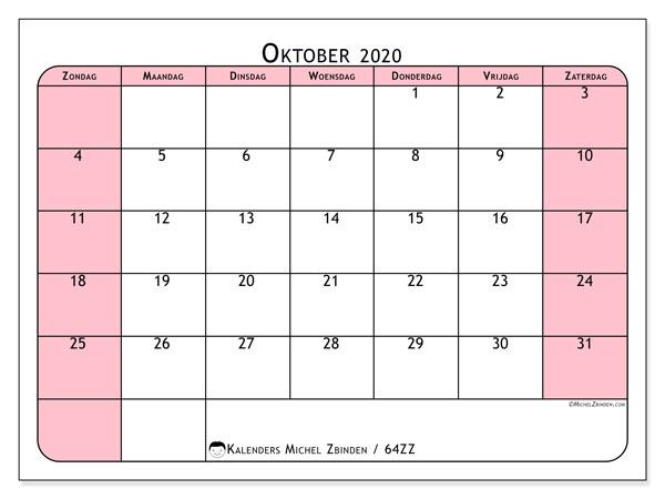 Kalender oktober 2020, 64ZZ. Maandkalender om gratis te printen.