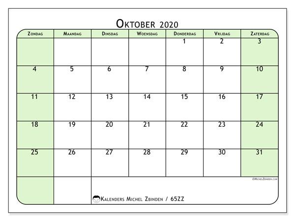 Kalender oktober 2020, 65ZZ. Schema om gratis te printen.