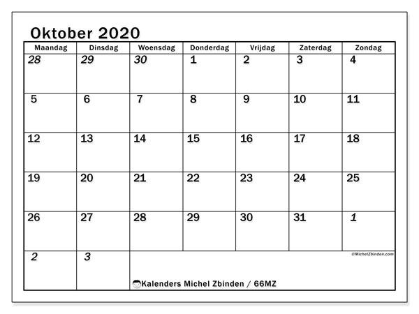 Kalender oktober 2020, 66MZ. Kalender om gratis af te drukken.