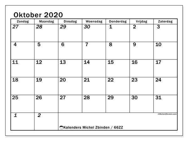 Kalender oktober 2020, 66ZZ. Kalender om gratis te printen.