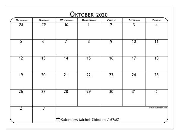 Kalender oktober 2020, 67MZ. Kalender voor de maand die gratis moet worden afgedrukt.