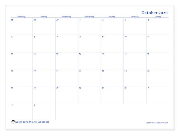 Kalender oktober 2020, 73MZ. Gratis kalender om af te drukken.