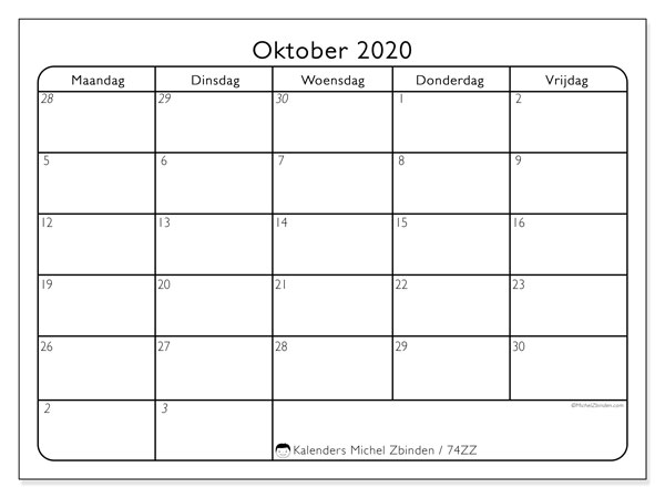 Kalender oktober 2020, 74ZZ. Schema om gratis te printen.