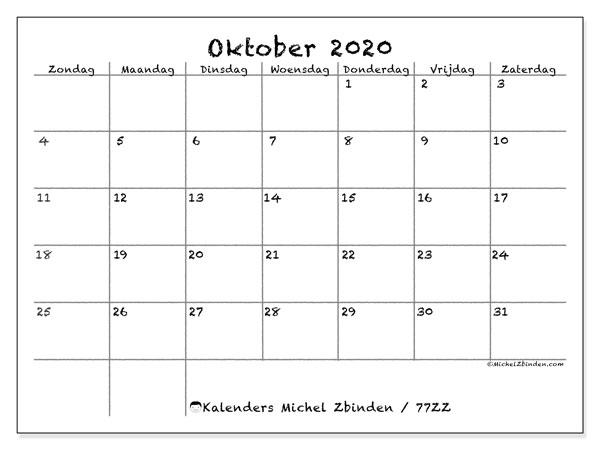 Kalender oktober 2020, 77ZZ. Kalender om gratis af te drukken.