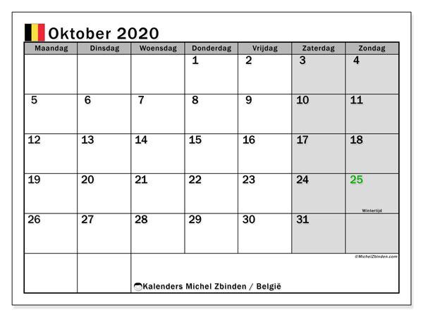 Kalender oktober 2020 met de feestdagen van België. Kalender om gratis te printen.