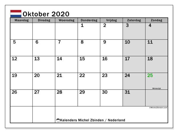 Kalender oktober 2020, met feestdagen in Nederland. Kalender om gratis te printen met feestdagen.