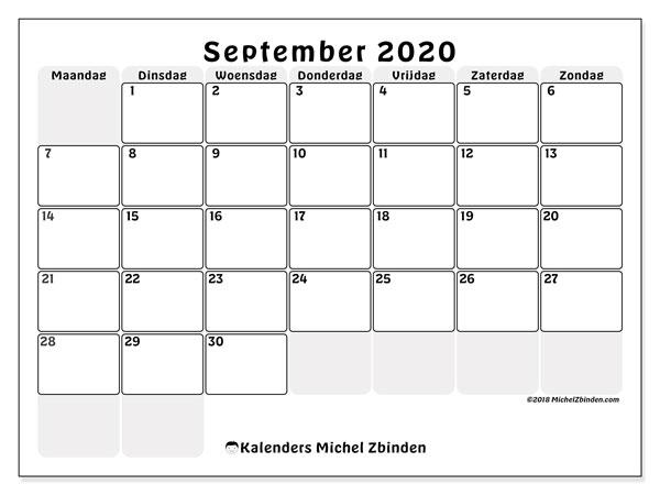 Kalender september 2020, 44MZ. Maandkalender om gratis te printen.