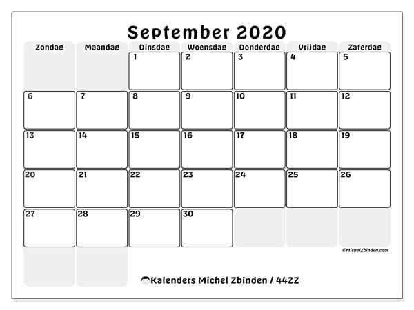 Kalender september 2020, 44ZZ. Gratis printbare kalender.