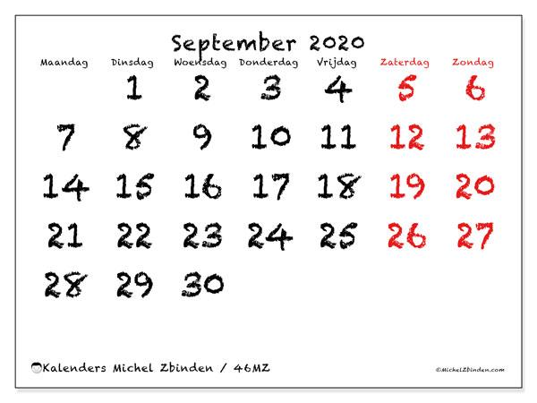 Kalender september 2020, 46MZ. Gratis afdrukbare kalender.