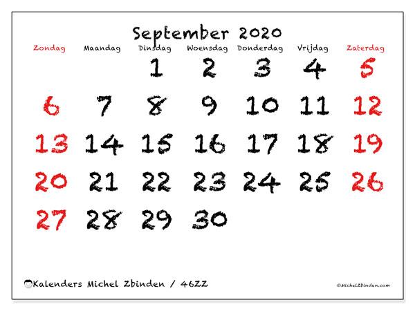 Kalender september 2020, 46ZZ. Gratis printbare kalender.