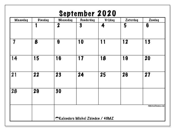 Kalender september 2020, 48MZ. Schema om gratis te printen.