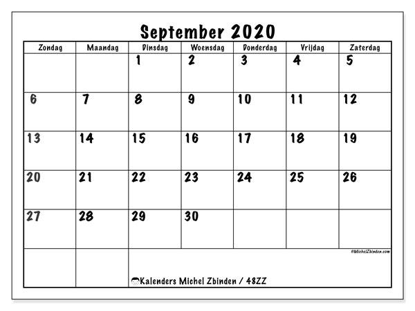 Kalender september 2020, 48ZZ. Gratis afdrukbare kalender.