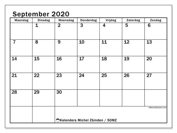 Kalender september 2020, 50MZ. Gratis printbare kalender.