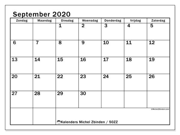 Kalender september 2020, 50ZZ. Maandkalender om gratis te printen.