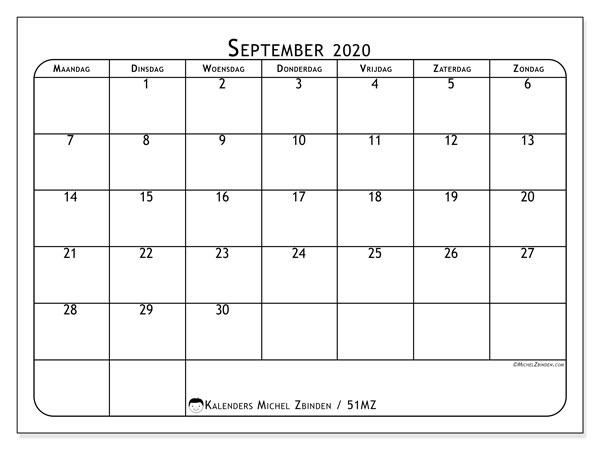 Kalender september 2020, 51MZ. Gratis kalender om af te drukken.