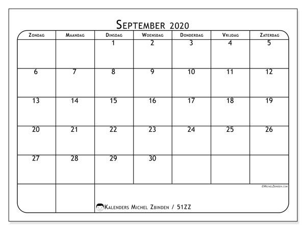 Kalender september 2020, 51ZZ. Gratis afdrukbare kalender.