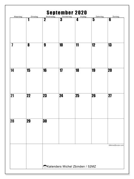 Kalender september 2020, 52MZ. Maandkalender om gratis te printen.