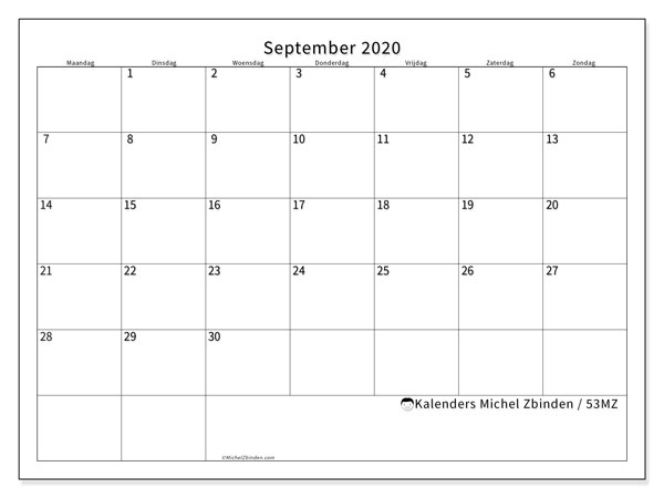 Kalender september 2020, 53MZ. Kalender om gratis af te drukken.