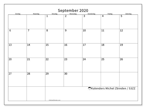 Kalender september 2020, 53ZZ. Kalender voor de maand die gratis moet worden afgedrukt.